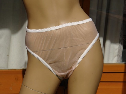 GORGEOUS HANDMADE ULTRA SEE NYLON HIGH LEG KNICKERS  SIZE:- SMALL USA - 5  #A37